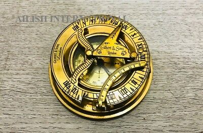 Vintage Solid Brass Sundial Compass West London Marine Working Compass