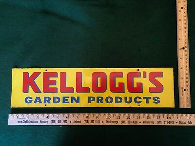 VINTAGE KELLOGG'S GARDEN PRODUCTS SIGN TIN METAL ADVERTISING SIGN CA. 1940s