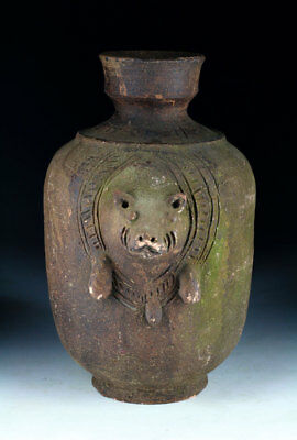 *SC* RARE LARGE JAR w. PIG, KHMER-THAI EMPIRE, ANGOR PERIOD, 12th cent. AD