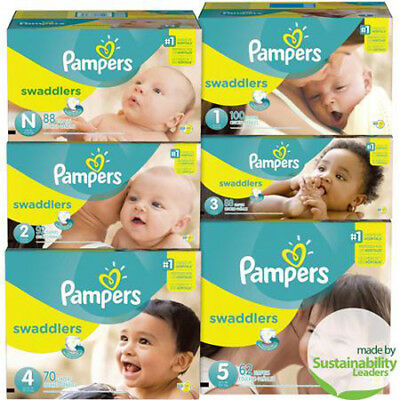 Pampers Swaddlers Diapers Size Preemie, N, 1, 2, 3, 4, 5, 6 CHEAP!!!