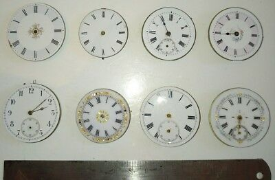 Lot of 8 Small Sized Antique Pocket Watch Movements For Spares or Repairs