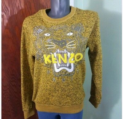 Kenzo Paris Tiger Heather Sweatshirt Yellow Gold Graphic Sweater Size Medium 7e976cfd3da3