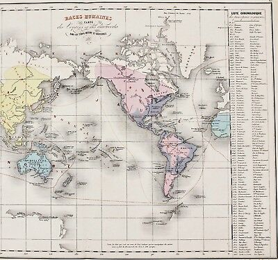 1868 World Map Exploration Routes Age of Discovery Columbus Delamarche Original
