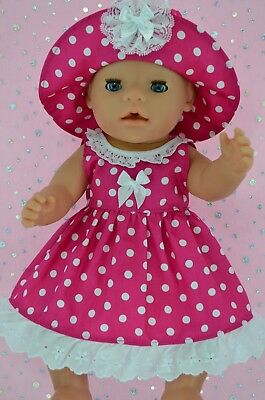 """Play n Wear Doll Clothes To Fit 17"""" Baby Born  HOT PINK POLKA DOT DRESS~HAT"""