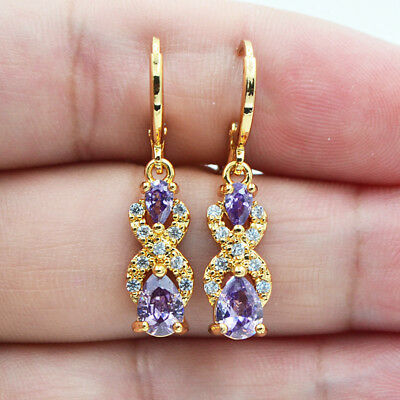 18K Yellow Gold Filled Mystical Teardrop Amethyst Topaz Zircon Women Earrings