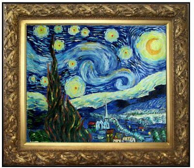 Framed, Van Gogh Starry Night Repro. Quality Hand Painted Oil Painting 20x24in