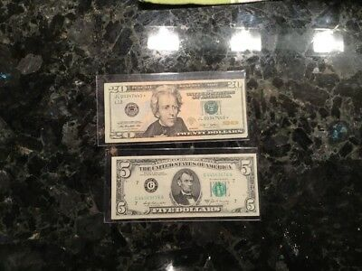 2009 $20 FRN - STAR NOTE + 1969 A $5 Federal Reserve Note - Chicago