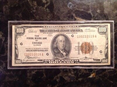 1929 $100 National Currency - FRB Chicago