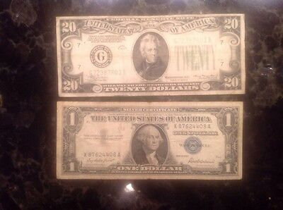 1934 A $20 Federal Reserve Note - Chicago + 1957  $1 Silver Certificate