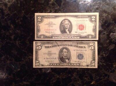 1963  $2  USN - Red Seal - STAR NOTE + 1953  $5 Silver Certificate - Blue Seal