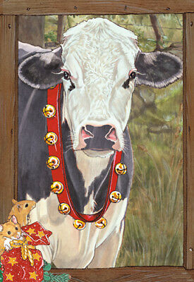 Cow Holstein Black and White Cow Christmas Cards Set of 10 cards & 10 envelopes