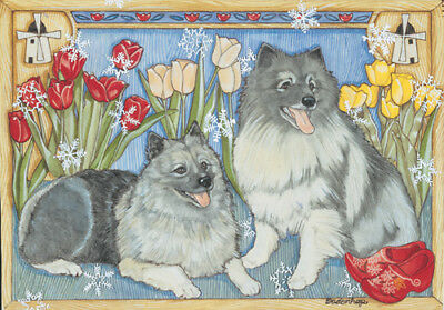 Keeshond Christmas Cards Set of 10 cards & 10 envelopes
