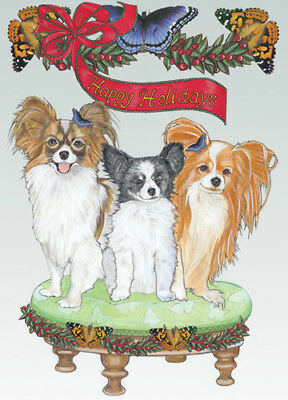 Papillon Christmas Cards Set of 10 cards & 10 envelopes