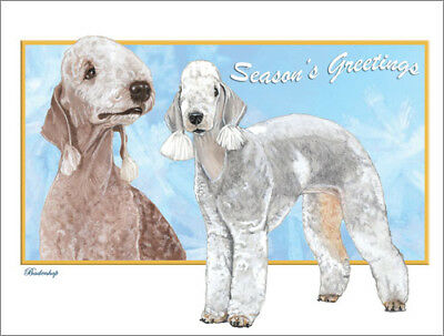 Bedlington Terrier Christmas Cards Set of 10 cards & 10 envelopes