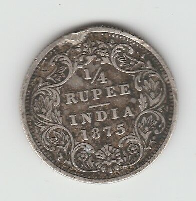 British India 1/4 rupee 1875 Victoria VF KM 470 silver .917