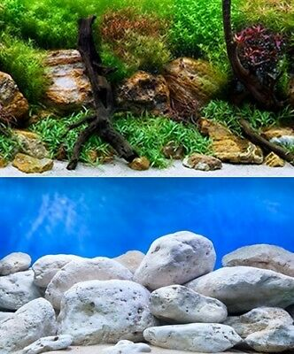poster fond aquarium reversible 100 X 60 Cm   bright/aqua