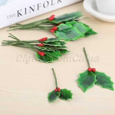 Artificial Berries Branch Fake Flower Fruit Green Leaves Party Decoration 10x