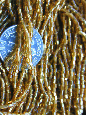 Antique Classic Victorian GOLD Czech Seed Beads Hex Cut TWO RARE Hanks SALE BUY