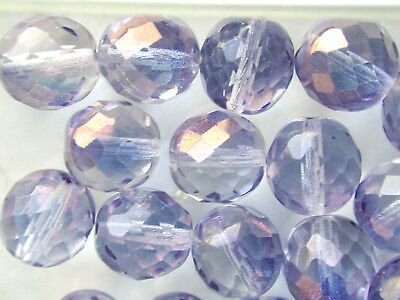 Vintage Crystal Clear with Gold Facet Cuts Czech Glass 12mm Beads STUNNING! OOAK