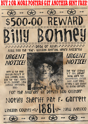 Billy The Kid Garrett Old West Western Wanted Poster Outlaw Mexican Rob