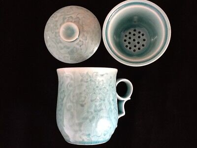 Chinese Porcelain Tea Cup Handled Infuser Strainer w Lid 10 oz Green Marble