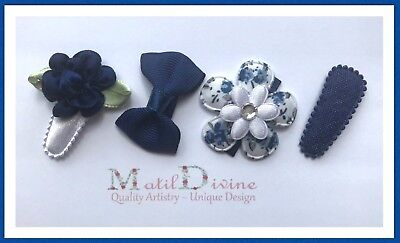 Baby Girls Non Slip Hair Clips Bow 3 cm Snap Clips Set of 4 Navy Blue Collection
