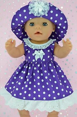 """Play n Wear Doll Clothes To Fit 17"""" Baby Born  PURPLE POLKA DOT DRESS~HAT"""