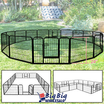 "16-Panels 24"" Tall Folding Dog Playpen Fence Kennel Exercise HeavyDuty Metal"