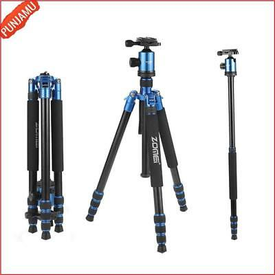 Durable Adjustable Height Hiking Tripod For DSLR Cameras Canon Nikon Sony Blue