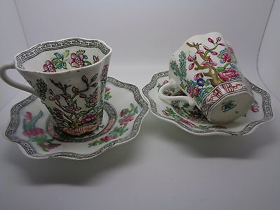 Pair Antique Coalport Flat Cup And Saucer Indian Tree Discontinued Floral Tree