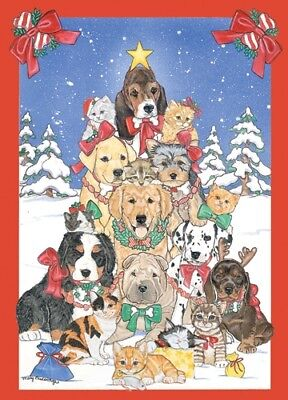 Dog with Cat Group Critter Tree Christmas Card 5 x 7 with Envelope