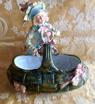 "Antique Bisque Figurine ""Gent and Basket."""