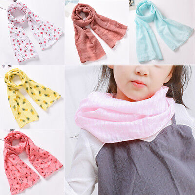 Winter Kids Girl long Scarf Cotton Wrap Shawl Pashmina Scarves Candy Color
