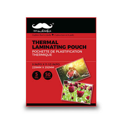 Moustache® Thermal Laminating Pouch, 50/Pack,Letter Size, 5 MIL