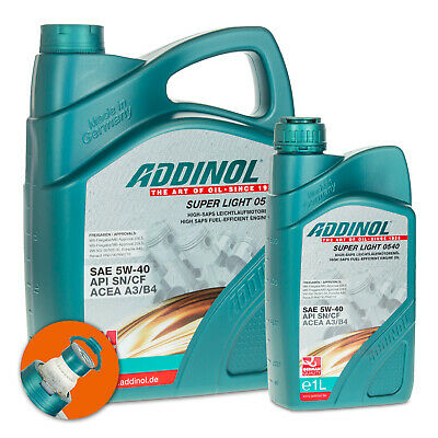 6 (5+1) Liter ADDINOL SAE 5W-40 Super Light 0540 Hochleistungs-Leichtlauföl