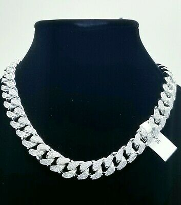 14Kt Thick Solid Miami Cuban Links 26Ct Vvs1 Clarity Crystals Finest Quality