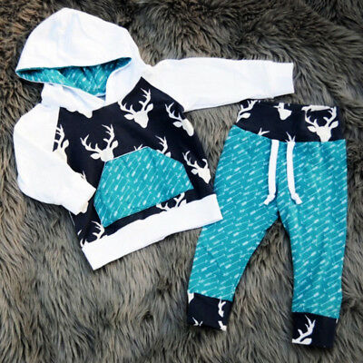 Toddler Kids Baby Boys Girls Reindeer Hooded Tops Pants Outfits Set Clothes 0-5t