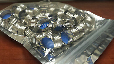 100x 18mm Magnetic Screw Thread Cap with White PTFE/Blue Silicone Septa Open Top