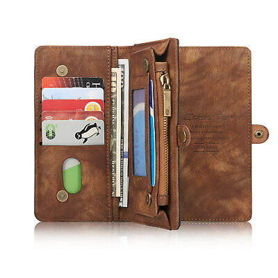 For Samsung Galaxy Multifunction Zipper Wallet Removable Leather Flip Case Cover