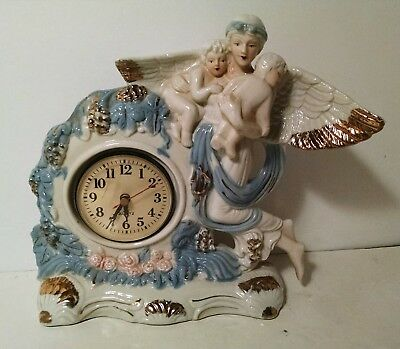 Antique Ceramic Mantle Clock Cherub With Babies Blue, Pink, Gold & White 11""