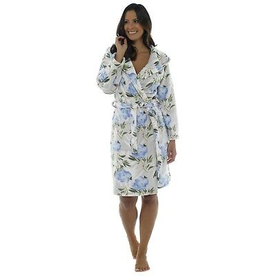New Ladies Floral Printed HOODED Soft Warm Fleece Dressing Gown PINK or BLUE
