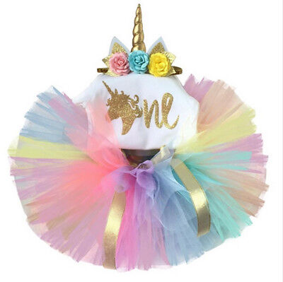 UK Newborn Baby Girl 1st Birthday Unicorn Romper Rainbow Tutu Skirt Dress Outfit