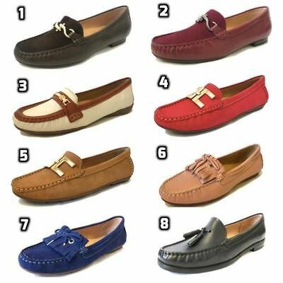 Capolloni Womens Ladies Italian Leather Driving Loafers Smart Moccasins Shoes Fo