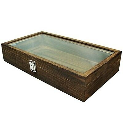 Mooca Large Washed Natural Wood TEMPERED Glass Top Lid Metal Clip Jewelry Displa