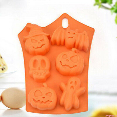 Halloween Pumpkim 6-Cavity Cupcake Silicone Mould Chocolate Cookie Baking Pan ZN