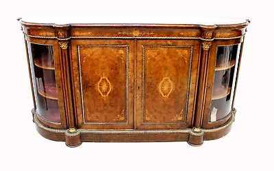 A Stunning Quality Victorian Burr Walnut And Inlaid Four Door Credenza