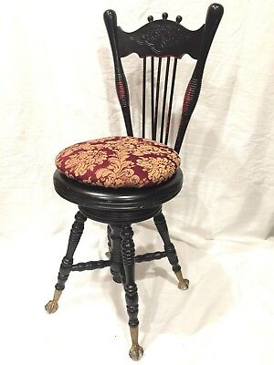 Victorian Piano Stool With Glass Claw Feet Antique Back Adjustable