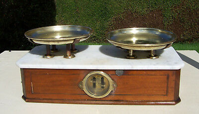 Edwardian Marble Topped & Brass Shop Scales By Parnall & Sons - Kitchen Scales