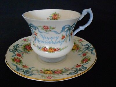 QUEENS ROSINA CHINA CO.LTD HAPPY ANNIVERSARY CUP SAUCER FLORAL BLUE RIBBONS Gift