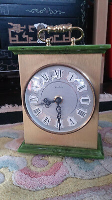 Vintage Bentima Brass and Marble Mantle Clock / Carriage Clock